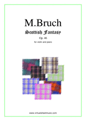 Cover icon of Scottish Fantasy Op.46 sheet music for violin and piano by Max Bruch, classical score, intermediate/advanced violin