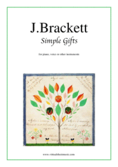 free Simple Gifts for piano, voice or other instruments - free beginner sheet music
