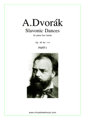 Slavonic Dances Op.46 No.1-4 for piano four hands - intermediate piano four hands sheet music