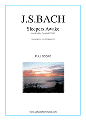 Cover icon of Sleepers Awake (f.score) sheet music for string quartet by Johann Sebastian Bach, classical score, intermediate