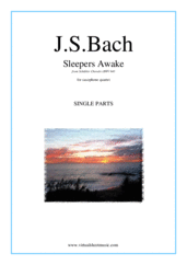 Cover icon of Sleepers Awake (parts) sheet music for saxophone quartet by Johann Sebastian Bach, classical score, intermediate