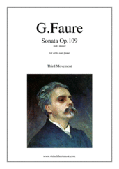 Cover icon of Sonata in D minor Op. 109 (3rd movement) sheet music for cello and piano by Gabriel Faure, classical score, advanced skill level