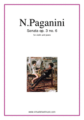 Cover icon of Sonata op.3 no.6 sheet music for violin and piano by Nicolo Paganini