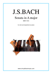 Cover icon of Sonata in A major BWV 1015 sheet music for violin and piano (or harpsichord) by Johann Sebastian Bach, classical score, intermediate violin