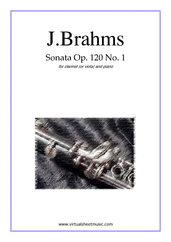 Cover icon of Sonata No.1 in F minor Op.120 sheet music for clarinet (or viola) and piano by Johannes Brahms, classical score, advanced skill level