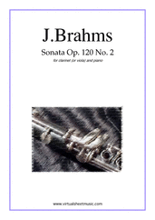 Cover icon of Sonata No.2 in Eb major Op.120 sheet music for clarinet (or viola) and piano by Johannes Brahms, classical score, advanced