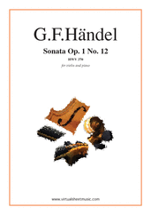 Cover icon of Sonata Op.1 No.12 sheet music for violin and piano by George Frideric Handel, classical score, intermediate