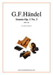 Cover icon of Sonata Op.1 No.3 sheet music for violin and piano by George Frideric Handel, classical score, intermediate