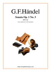 Cover icon of Sonata Op.1 No.3 sheet music for viola and piano by George Frideric Handel, classical score, intermediate skill level