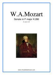 Cover icon of Sonata in F major K280 sheet music for piano solo by Wolfgang Amadeus Mozart, classical score, easy