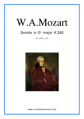 Cover icon of Sonata in Eb major K282 sheet music for piano solo by Wolfgang Amadeus Mozart, classical score, easy piano