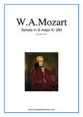 Cover icon of Sonata in G major K283 sheet music for piano solo by Wolfgang Amadeus Mozart, classical score, easy/intermediate skill level