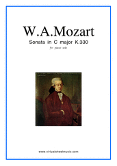 Cover icon of Sonata in C major K330 sheet music for piano solo by Wolfgang Amadeus Mozart, classical score, easy