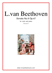 "Cover icon of Sonata Op.47 No.9 ""Kreutzer"" sheet music for violin and piano by Ludwig van Beethoven, classical score, advanced skill level"