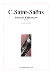 Cover icon of Sonata in E flat major Op. 167 sheet music for clarinet and piano by Camille Saint-Saens, classical score, intermediate/advanced