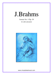Cover icon of Sonata No.1 in E minor Op.38 sheet music for cello and piano by Johannes Brahms, classical score, intermediate/advanced skill level