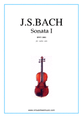 Cover icon of Sonata No.1 in G minor sheet music for violin solo by Johann Sebastian Bach, classical score, advanced