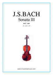 Cover icon of Sonata No.3 in C major sheet music for violin solo by Johann Sebastian Bach, classical score, advanced skill level