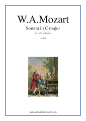 Cover icon of Sonata in C major K303 sheet music for violin and piano by Wolfgang Amadeus Mozart, classical score, intermediate skill level