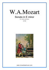 Cover icon of Sonata in E minor K304 sheet music for violin and piano by Wolfgang Amadeus Mozart, classical score, intermediate
