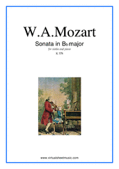 Cover icon of Sonata in Bb major K378 sheet music for violin and piano by Wolfgang Amadeus Mozart, classical score, intermediate