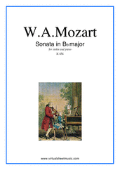 Cover icon of Sonata in Bb major K454 sheet music for violin and piano by Wolfgang Amadeus Mozart, classical score, intermediate skill level