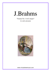Cover icon of Sonata No.1 in G major Op.78 sheet music for violin and piano by Johannes Brahms, classical score, advanced skill level
