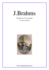 Cover icon of Sonata No.2 in A major Op.100 sheet music for violin and piano by Johannes Brahms, classical score, advanced