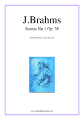 Cover icon of Sonata No.1 in E minor Op.38 sheet music for viola and piano by Johannes Brahms, classical score, intermediate/advanced