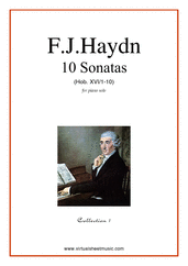 Cover icon of Sonatas, coll.1 - Hob. XVI/1-10 sheet music for piano solo by Franz Joseph Haydn, classical score, easy skill level