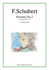 Cover icon of Sonatina No.2 Op.137 sheet music for violin and piano by Franz Schubert, classical score, easy/intermediate