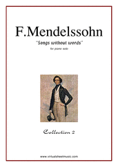 Cover icon of Songs Without Words - coll.2 sheet music for piano solo by Felix Mendelssohn-Bartholdy, classical score, intermediate skill level