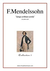 Cover icon of Songs Without Words - coll.3 sheet music for piano solo by Felix Mendelssohn-Bartholdy, classical score, intermediate skill level