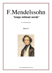 Cover icon of Songs Without Words Op. 26, Book VI sheet music for violin and piano by Felix Mendelssohn-Bartholdy, classical score, intermediate