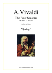 "Cover icon of Concerto ""Spring"" sheet music for flute and piano by Antonio Vivaldi, classical score, advanced skill level"