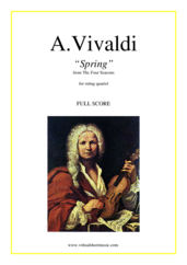 "Cover icon of Concerto ""Spring"" (f.score) sheet music for string quartet by Antonio Vivaldi, classical score, advanced skill level"