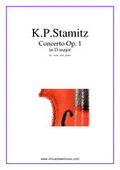 Cover icon of Concerto Op.1 No.1 sheet music for viola and piano by Karl Philip Stamitz, classical score, intermediate/advanced skill level