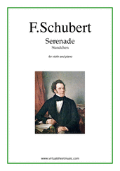 "Cover icon of Serenade ""Standchen"" sheet music for violin and piano by Franz Schubert, classical score, intermediate skill level"