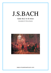 Cover icon of Suite No. 2 in B minor sheet music for flute and piano by Johann Sebastian Bach, classical score, intermediate skill level