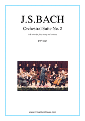 Cover icon of Orchestral Suite No.2 BWV 1067 (parts) sheet music for orchestra by Johann Sebastian Bach, classical score, intermediate