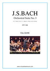 Cover icon of Orchestral Suite No.3 BWV 1068 (f.score) sheet music for orchestra by Johann Sebastian Bach, classical score, intermediate orchestra