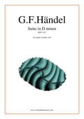 Cover icon of Suite in D minor HWV 437 sheet music for organ, piano or keyboard by George Frideric Handel