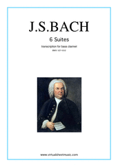 Cover icon of Suites sheet music for bass clarinet solo by Johann Sebastian Bach, classical score, intermediate