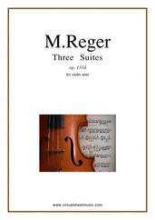 Cover icon of Three Suites Op.131d sheet music for violin solo by Max Reger, classical score, advanced skill level