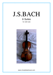 Cover icon of Suites sheet music for violin solo by Johann Sebastian Bach, classical score, intermediate