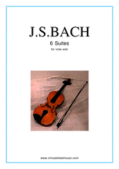 Cover icon of Suites sheet music for viola solo by Johann Sebastian Bach, classical score, advanced viola