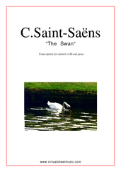 Cover icon of The Swan sheet music for clarinet and piano by Camille Saint-Saens, classical score, easy clarinet