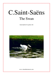Cover icon of The Swan sheet music for guitar solo by Camille Saint-Saens, classical score, intermediate