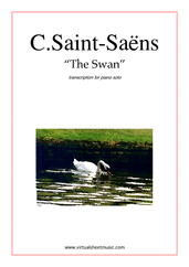 Cover icon of The Swan sheet music for piano solo by Camille Saint-Saens, classical score, intermediate skill level
