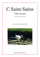 Cover icon of The Swan sheet music for string quartet by Camille Saint-Saens, classical score, intermediate string quartet